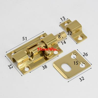 2 3 4 inch Solid Brass Door Latch Bolt With Screws Slide Barrel