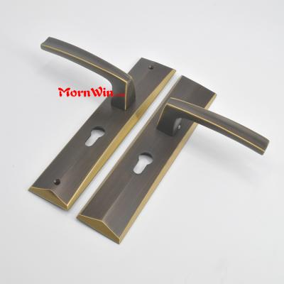 Brass door lever handle with plate