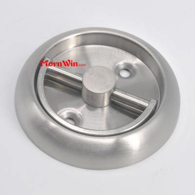 Flush stainless steel door pull handle with pull ring