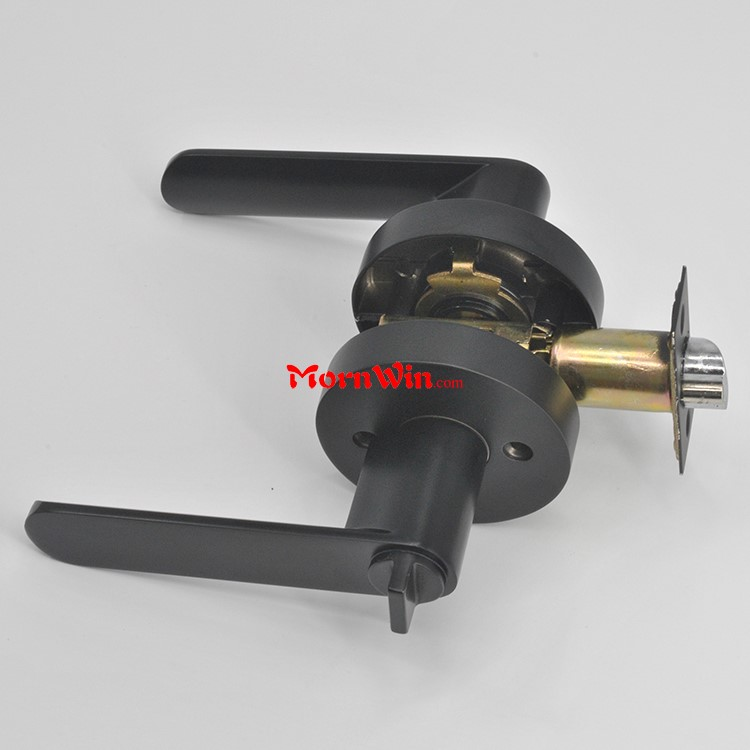 Heavy duty leverset tubular matte black passage lever door handle lock