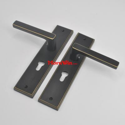 High quality brass lever door handle on plate