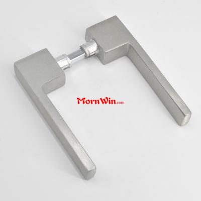 Hot selling satin square brushed Aluminum door lever handle