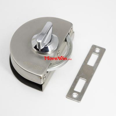 Hotel Stainless Steel Oval Shaped Single Swing Glass To Wall Glass Door Lock