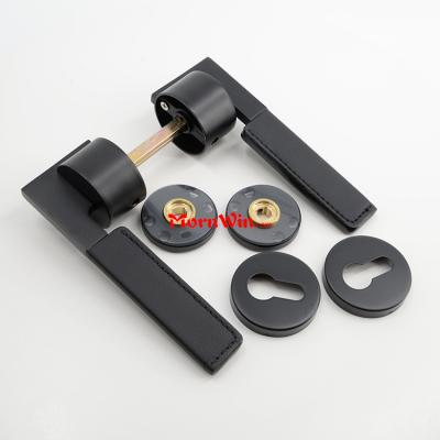 Luxury black SS304 leather door handle lever for internal door