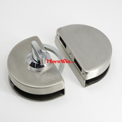 Oval Shaped Bathroom frameless sliding stainless steel glass door lock