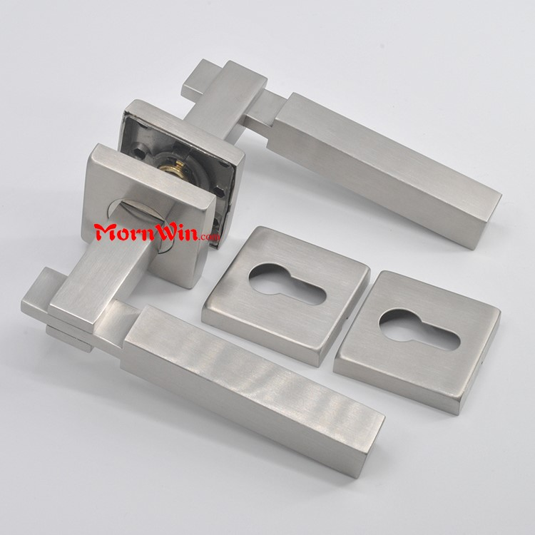 Satin or Polished Finish Stainless Steel Solid Lever Door Handle on Square Rose