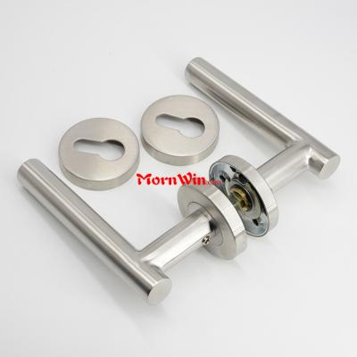 Stainless Steel Oval Door Handles with round rosette SS304 tube lever door handle