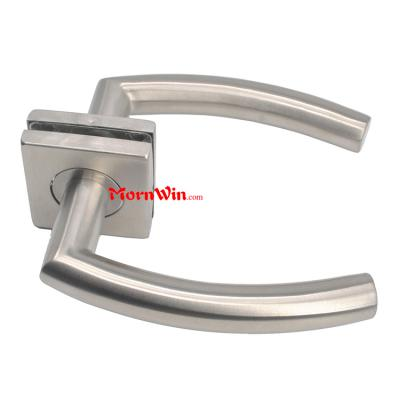 Stainless Steel Rectangular Lever Handle On Square Rose For Interior Door