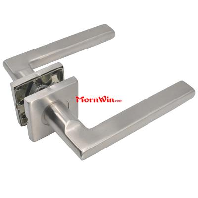 Stainless Steel Tube Door Lever Handle on Square Rose