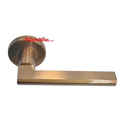 Top quality Solid stainless steel Antique Brass door lever handle on rose rosette