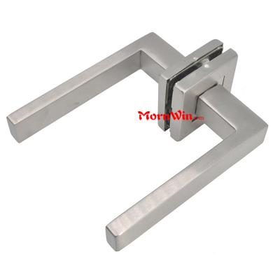 high quality door lever handle with square rose and square escutcheon