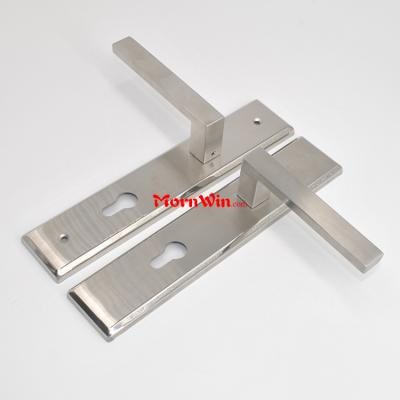 stainless steel lever door handle on square back plate